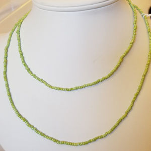 Handmade Pale Green Seed Bead Necklace